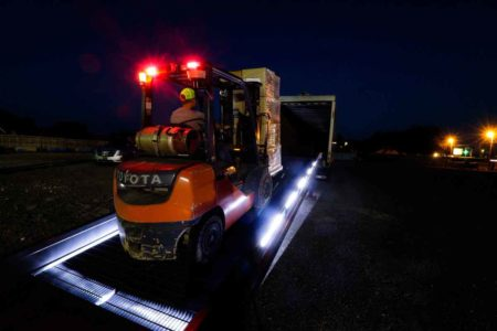 Safety Lighted Ramp by Brazos Loading a truck