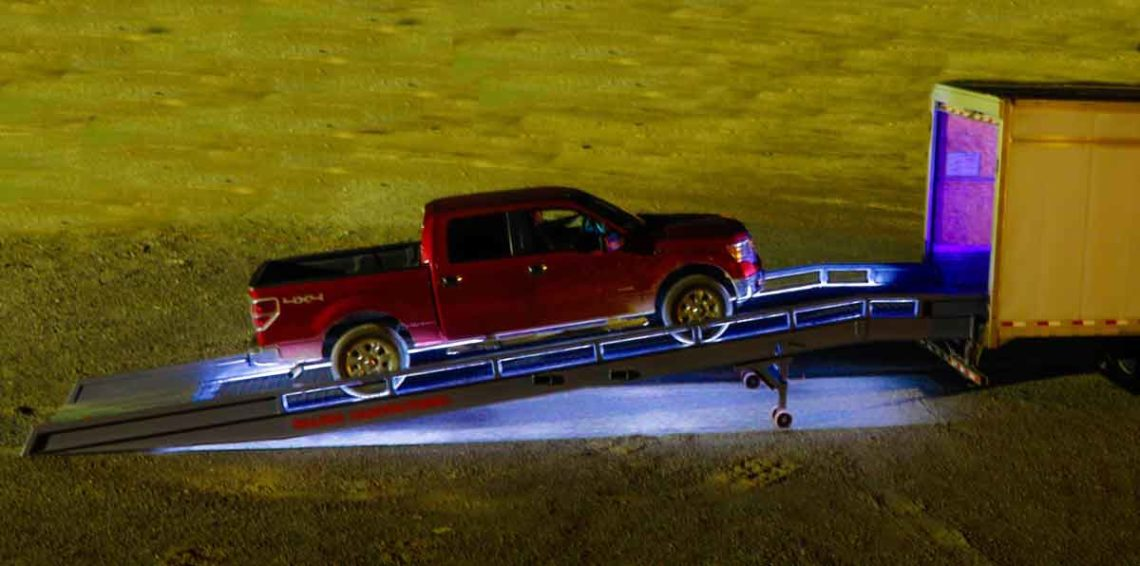 Loading A Ford Pickup On A safety lighted ramp