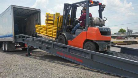yardramp loading pallet of parts