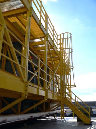 Ships Ladder to rooftop maintenance platform