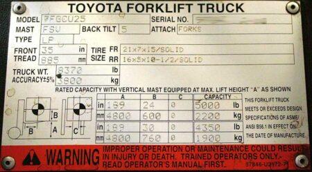 capacity plate on forklift truck