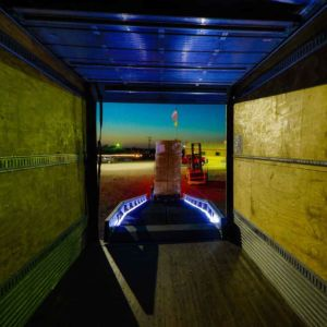 Safety Lighted Ramp as seen from inside of trailer
