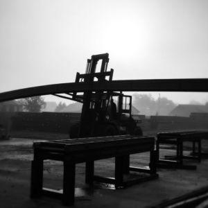 forklift loading 40' I-beams