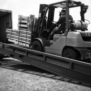 Brazos yard ramp loading truck with forklift